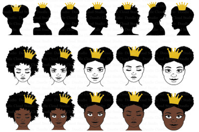 Black Queen With Crown SVG, Afro Puff Crown SVG,  Black Queen Clipart.