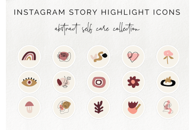 15 Instagram story highlight icons - abstract blush collection