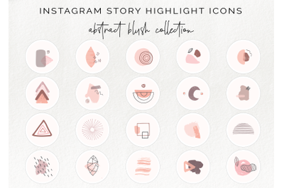 20 Instagram story highlight icons - abstract  blush collection