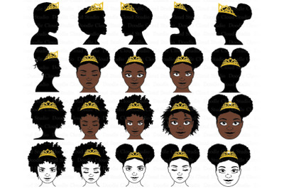 Black  Princesses and Queen With Crown SVG,   Afro Puff Crown SVG.