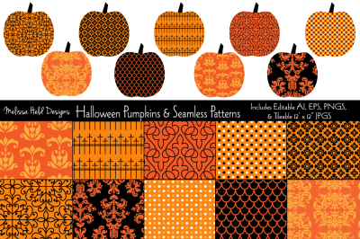 Halloween Pumpkins & Seamless Patterns