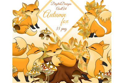 Cute Autumn foxes clipart