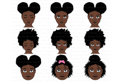 Afro Girl SVG Bundle, Afro Woman SVG, Black Woman Natural Hair Clipart