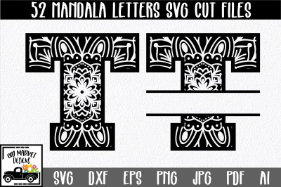 Mandala Monogram SVG Cut File Bundle - Includes Regular and Split Lett