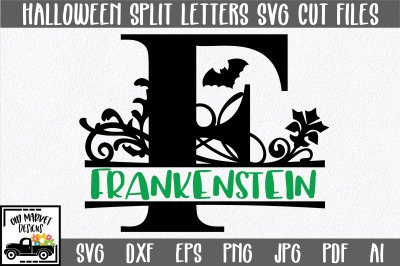 Halloween Split Letter A-Z SVG Cut Files