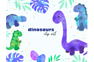 dinosaurs watercolor clipart