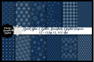 Glitter Snowflakes at Night Digital Papers