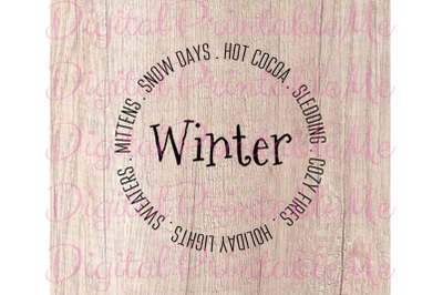 Winter SVG, Snow Days, Mittens, Lights, Hot Cocoa Instant Download, Pr