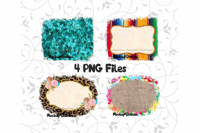 Sublimation Frame Background Design PNG Bundle, Serape Cheetah Burlap