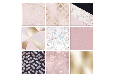 Christmas Rose Gold Marble Digital Paper
