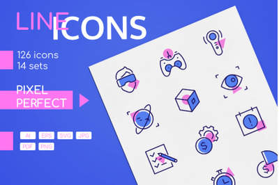 Line design icons with color filling