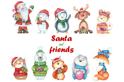 watercolor Christmas set characters  clipart illustrations Santa Claus