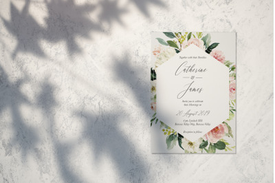Rose and Peonys Wedding Invitation Suite