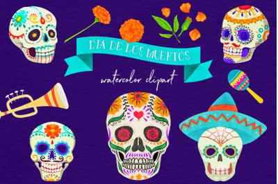 Dia De Los Muertos - Watercolor Clipart