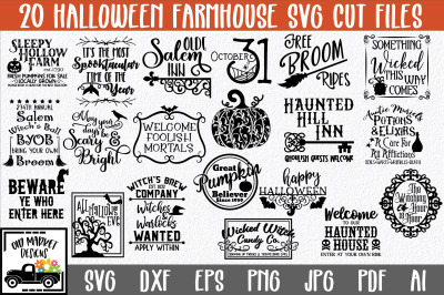 Farmhouse Halloween SVG Bundle with 20 SVG Cut Files