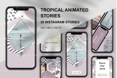 Tropical animated instagram stories