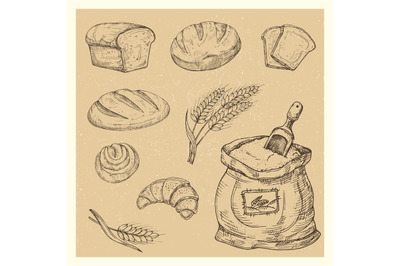 Hand drawn bread, rolls, croissant, meal vector set