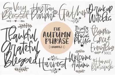 Autumn Hand Lettered Phrase Bundle SVG DXF PNG