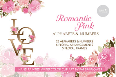 Floral Alphabet Watercolor Pink Set