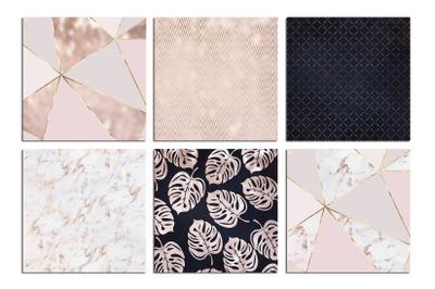 Rose Gold Navy Blue Marble Digital Paper
