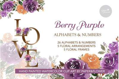 Floral Watercolor Alphabet Berry Purple Set