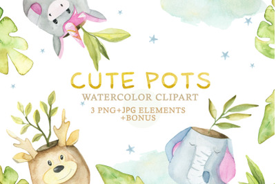 Watercolor Set Cute Pots part 3
