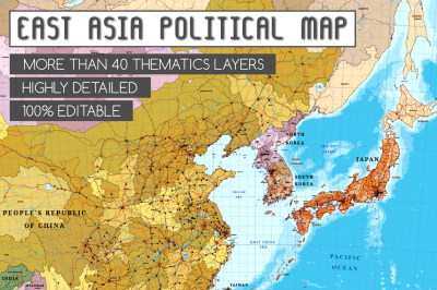 Political Map of Asia - East Asia