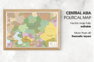 Political Map of Asia - Central Asia