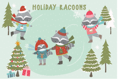 Holiday Racoons
