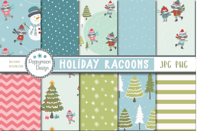 Holiday Racoons Paper