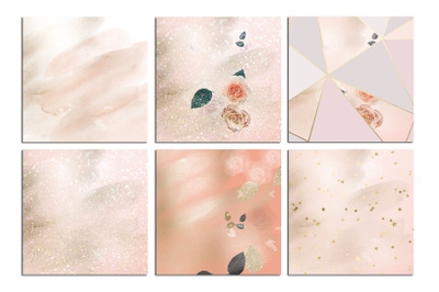 Valentine's Day Rose Gold Marble Watercolor Textures