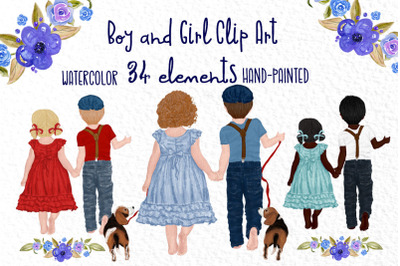 Watercolor Children clipart, Cute Kids clipart, Best Friends