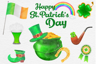 St Patricks Day Watercolor Clipart