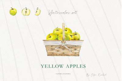 Watercolor Yellow Apples Set