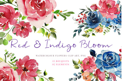 Watercolour clipart, Red Indigo flowers, greenery