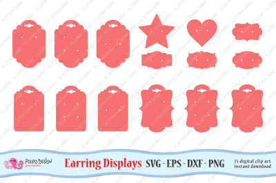 Earring Display Cards SVG, Eps, Dxf and Png