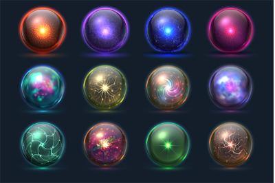 Magic balls. Energy mysterious orbs, magical crystal glass prediction