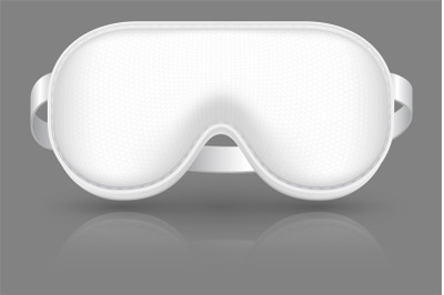 White sleeping mask. Blindfold for airplane relax. Cover on eyes. Real