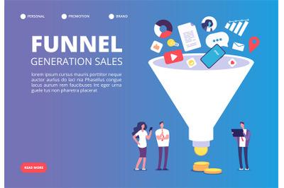 Funnel sale generation. Digital marketing funnel lead generations with