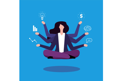 Multitasking businesswoman. Office manager administrator doind profess