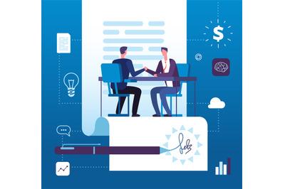 Business partnership. Businessmen investors handshaking with agreement