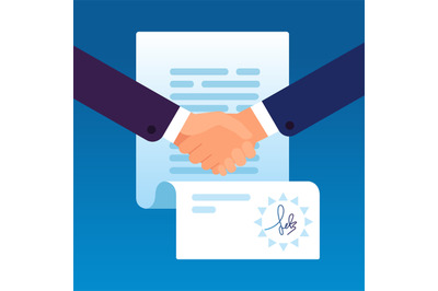 Businessmen shaking hands to sign contract. Partnership agreement with