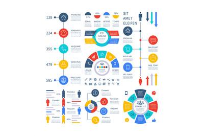 Infographic. Multipurpose financial chart marketing graph, process tab