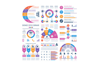 Infographic template. Financial investment graphs, process timeline or