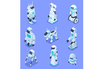 Isometric robots. Isometric robotic home assistant security robot pet.