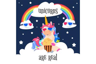 Cute magical unicorn with rainbow. Fantasy pony on clouds. Cartoon uni