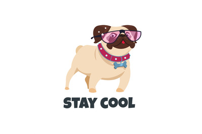 Pug dog with glasses. Funny puppy friend. Cute pug pet. Stay cool vect