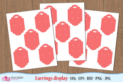Earring Display Card SVG, Eps, Dxf, Png and Jpg