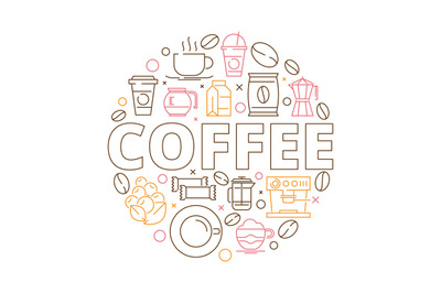 Coffee icons background. Circle shape from coffee grains espresso mill