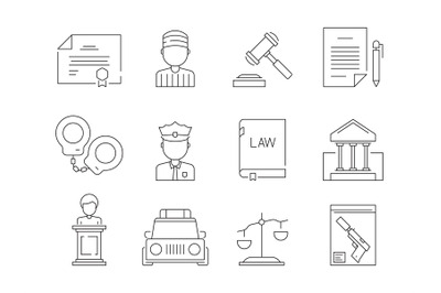 Law thin icon. Legal lawyer criminal judgement sheriff and police just